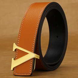 Wholesale leather belts for women wholesale - Wholesale-2016 New Genuine Leather Designer Mens Belts Luxury Belts For Men Women High Quality Brand Belt Gold Buckle Ceinture Homme
