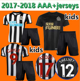 Wholesale United Kids - Kids kit 2017 2018 Newcastle United away soccer jerseys 17 18 GAYLE MITROVIC RITCHIE HOME youth child football shirt