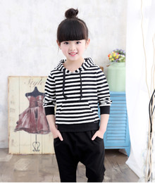 Wholesale Kids Black Hoodies - 2016 Baby Girl Striped Clothing Sets Autumn & Spring Brand Children Sport Suits Hoodie Pants Cartoon Cat Kids Twinsets
