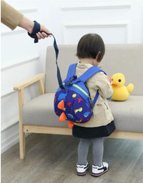 Wholesale Safety Harness Backpacks - hot Child Kid Anti-lost Backpack Dinosaur Backpack Baby Walking Safety Harness Reins Toddler Leash Cute Cartoon Backpack