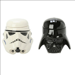 Wholesale Porcelain Home Decoration - 301-400ML Fashion Movie Star War Porcelain Cup Black Knight Pattern White Black Coffee Mug Tea Cups Home Bar Party Decoration Christmas Gift