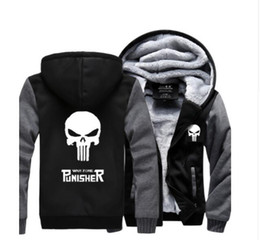 Wholesale Thick Mans Cardigan Hooded - Wholesale-New Winter Warm The Punisher Hoodies Anime skull Hooded Coat Thick Zipper men cardigan Jacket Sweatshirt Hot Sale