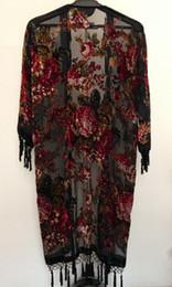 Wholesale Floral Velvet Coat - Velvet hand beaded kimono coat -Roses, free shipping