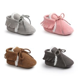 Wholesale Lace Pad - Baby Cotton-padded Shoes Frosted Tassels Infant Anti-slip Soft Sole Winter Infant Toddler Walking Shoes Prewalkers 0-18M