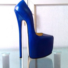 Wholesale customize high heels - Customized Blue Patent Leather Pump EXTREME High HEEL 22CM Heel with Platform Women Pump Sexy Fetish High Heels Sexy Pump Single Shoes Show