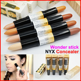 Wholesale Oil Foundation - NYX Wonder stick highlights and contours shade stick Light Medium Deep Universal NYX concealer 4colors Face foundation Makeup Concealer Pen