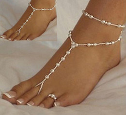 Wholesale Stretch Anklet Toe - barefoot sandals stretch anklet chain with toe ring slave anklets chain 1pair lot retaile sandbeach wedding bridal bridesmaid foot jewelry