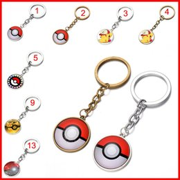 Wholesale Hanging Glass Balls Wholesale - 40 colors Pocket Monster Poke ball keychain Glass cabochon Key Rings Time gem key ring keyring pendants men women bags hang jewelry 170583