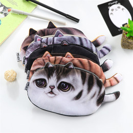 Wholesale Female Child Stars - The cat face bag Children Pencil Case lovely star cat female students creative stationery bag 5 style IB430