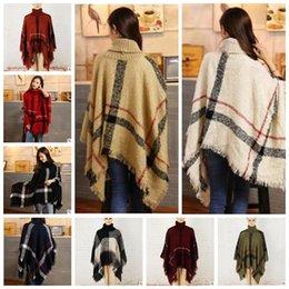 Wholesale Girls Shawl Cardigan - Plaid Scarf Poncho Tassel Fashion Wraps Women Vintage Knit Scarves Tartan Winter Cape Grid Shawl Cardigan Cloak Coat Sweater Blankets C3026