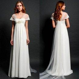 Wholesale Empire Waist Wedding Dresses Beaded - Elegant Maternity Wedding Dresses 2016 Sheer Capped Sleeves Empire Waist A Line Sweep Train Beaded Wedding Dress Pregnant