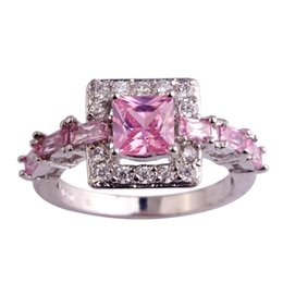 wholesale pink topaz jewelry Promo Codes - New Silver Ring Pink Topaz Wholesale Size 6 7 8 9 10 Handmade Women Gems 925 jewelry Free Shipping