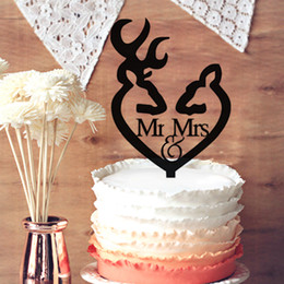 Wholesale wedding topper silhouette - Hunter Themed Wedding Cake Topper, Deer Head Mr & Mrs Silhouette Wedding Cake Topper, Wedding Anniversary Cake Topper