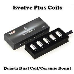 Bobine en céramique bobines Quartz Dual Bobines E Cigarettes Bobines de rechange pour Yocan Evolve Plus Kit 5 pcs / pack 100% d'origine Livraison rapide ? partir de fabricateur
