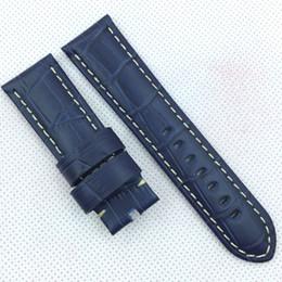 Argentina Correa de banda de cuero de 24 mm 120/75 mm azul marino cocodrilo grano para Panerai u otro reloj LUNMINOR RADIOMIR cheap watch band for panerai Suministro