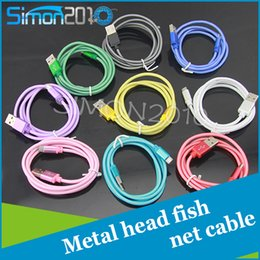 Wholesale Fishing Data - 1M 3FT micro USB 2.0 Data Sync Charge Cable fish net braid fabric Cord with metal port strong cover for samsung HTC