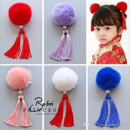 Wholesale hair pin vintage - 2017 New The wind China Vintage cheongsam rabbit hair ball children's tassels Girls Hair Pin Brooch dual purpose Children Hair Accessor