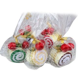 Wholesale Cherry Wedding Cake - EA14 Favor Roll Cotton Cake Towel Swiss With Two Cherry Top Decor Party Wedding
