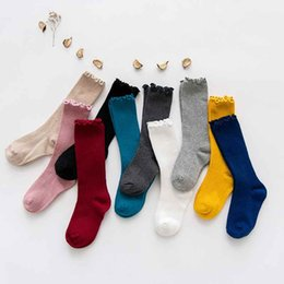 Wholesale girls vintage boots - Sweet Girls Candy Color Vintage Cotton Socks Fashion Korean Solid Color Baby Middle Sock Fall Winter Sport Students Boot Socks