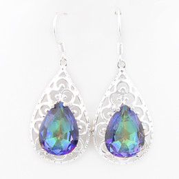 Wholesale Silver Earrings Stones - 6 Pairs Luckyshine Drop colorful stone Gems 925 Sterling Silver Plated Drop Fan Earrings Russia American Australia Earrings Jewelry