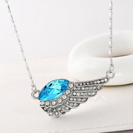 Wholesale Crystal Pave Link Necklace - Fashion Jewelry 18K White Gold Plated Blue Sapphire Clear Crystal Paved Wing Chain Necklace for Women