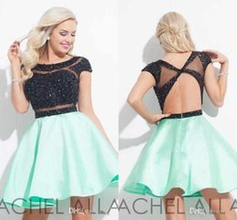 Wholesale Mint Green Sequin Prom Dress - Rachel Allan 2016 Mint And Black Homecoming Dresses Custom Make Sequins Sheer Neck Cap Sleeve Short Party Prom Formal dress