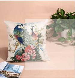 Wholesale Peacock Pillow Covers - 45 x 45cm Multi Pattern Cushion Cover Peacock Elephant Cotton Linen Pillow Case Cushion Cover Home Decorative Cushion Covers