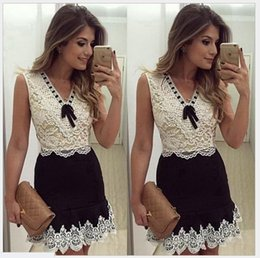 Wholesale Sleeve Leopard Dress - 2016 New Summer Sexy Women Lace Dress Ladies Lace V-Neck Sleeveless Dresses Women's Clothing Lady Lace Stitching Casual Dress Retail