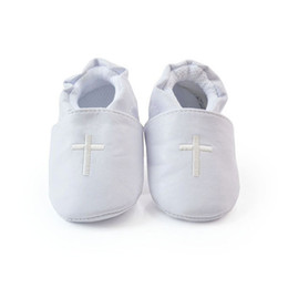 Wholesale Girls Baptism Shoes - Wholesale- Boy Girls Baby Cross Baptism Crib Shoes Toddler Infant Soft Sole Prewalker First Walkers Hot ZC2