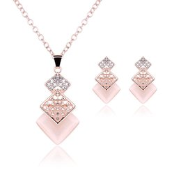 Wholesale Bridal Party Jewlery Set - Hot Sales Pink Square Necklace And Earrings Set Earrings With Rhinestone Wedding Bridal Jewlery Sets For Women