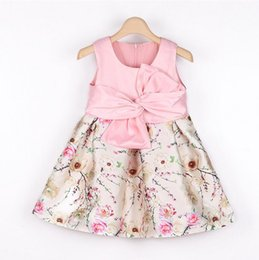 Wholesale Silk Flowers For Clothes - New 2016 Hot Pink Flower Baby Girls Dress Tribute Silk Princess Kids Dresses for Girl clothes Party