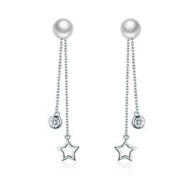 Wholesale Pearl Diamond Earings - 2017 quality luxury jewelry diamond Pearls 925 sterling silver flickering stars women stud pendant earings christmas gift free shipping