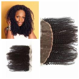 Wholesale Mongolian Baby Curl Hair - Cheap Full Lace Frontal Hair Malaysian Human Hair Kinky Curl Lace Frontal Closure 13*4 Bleach Knots Baby Hair G-EASY