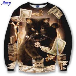 Wholesale Dollar Hoodie - Wholesale-[Amy] Nice model hoodies for men women 3d sweatshirt funny print big dollars cat and golden flowers sports hoodies autumn tops