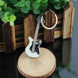 Wholesale Key Chain Guitar - Wholesale-New Arrival Small Cute Hot Guitar Keychain Buckle Fashion Jewelry Key Chains Ring