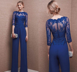 Wholesale Chiffon Pants Suits - 2016 Fashionable Mother Of Bride Pant Suit Long Sleeves Lace Plus Size Mother Bride Floor Length Bateau Neckline Evening Dresses Fashion