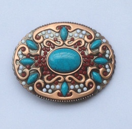 Wholesale Wholesale Native American - Western Native American Cowgirl Indian ladies Turquoise Stone Belt Buckle Bronze Finish