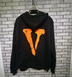 Wholesale Double Collar Hoodie Men - New VLONE Hoodies ribbon hooded hoodies hoodie overcoat Sleeve Streetwear Side Double Zipper Pattern Virgil Abloh skateboard Sweater
