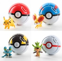 Wholesale Pvc Cans - DHL free shipping ABS Action Anime Figures 8cm pikachu figure Touch can be flipped sprite PokeBall Fairy Ball Super Ball poke Ball Kids Toys