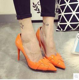 Scarpe arancione scarpe da donna online-Orange H punta lato scarpe vuote 2015 autunno nuovi tacchi alti in pelle verde bene con la bocca poco profonda della scarpa da donna