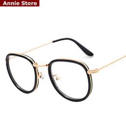 Wholesale Wholesale Designed Eyeglasses - Wholesale-New 2016 fashion brand design glasses frames eyeglass men unisex preppy style metal retro spectacle frames women UV pink clear