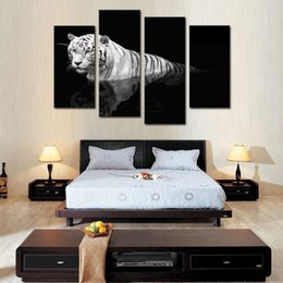 Wholesale Painting Animal Print - 4 Picture Combination Black & White Wall Art Painting Tiger Prints On Canvas The Picture Animal Pictures Oil For Home Modern