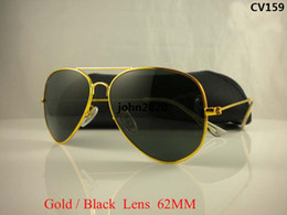 Wholesale frame sizes glasses - High Quality Mens Womans Glasses Gold Frame Black Glass Lens 58mm 62mm Size Designer Sport Sunglasses come boxes