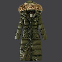 Wholesale Slim Down Light - Winter long jacket women 2016 fur coat Very long down jacket Army green Light overcoat Plump duck down Anorak Plus size
