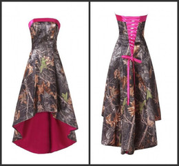 Wholesale Cheaper Summer Short - Short Cocktail Dresses High Low Strapless Camo Lace-up Real Simple Desigher Sleeveless Stylish Knee Length Cheaper Price Camo Satin