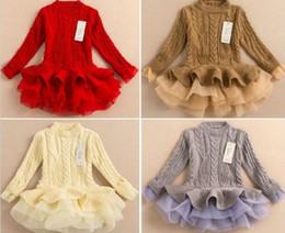 Wholesale Girls Pullover Solid Sweater Dress - 2016 Spring autumn Kids Girls Knit Sweater Dresses Baby girl tulle lace TUTU Winter princess jumper pullover dress free shipping