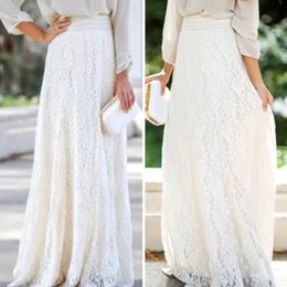 Wholesale Double Maxi Long Dress - 2017 Spring Summer Fashion Womens Lace Skirt Double Layer Elastic High Waist Beige Elegant Ladies Maxi Long Skirts saias beach