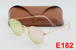 Wholesale White Sunglasses Blue - 1pcs Fashion Round Sunglasses Eyewear Sun Glasses Designer Brand Gold Metal Pink Mirror 50mm Glass Lenses Men's Women's With Brown Cases