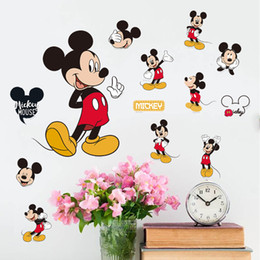 Wholesale Wall Decoration Mouse - Mickey Minnie Mouse Cartoon Wall Stickers for kids Room Decorations Movie Wall Art Removable PVC Comic Animal Decals