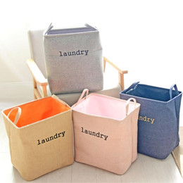 Wholesale Cotton Storage Basket - Laundry Hamper Dirty clothes Basket, Folding linen moisture-proof Dirty clothes basket, Clothes toys rules box,4 colors.